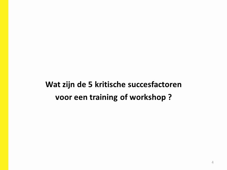 5 kritische succesfactoren voor een training of workshop Leerdoel Wat is je … Deelnemers Trainer Didactische werkvormen Hulpmiddelen & Randvoorwaarden Hoe bereid je een training optimaal voor .