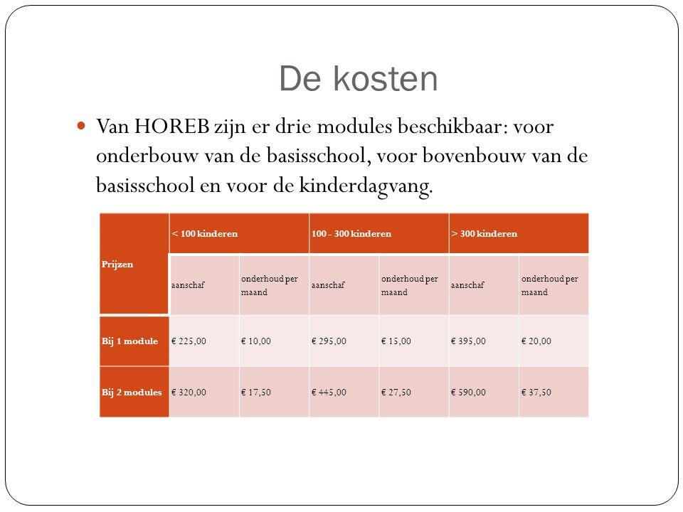 De kosten Van HOREB zijn er drie modules beschikbaar: voor onderbouw van de basisschool, voor bovenbouw van de basisschool en voor de kinderdagvang. P