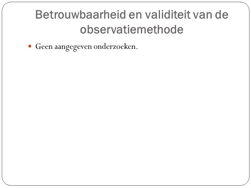 Betrouwbaarheid en validiteit van de observatiemethode Geen aangegeven onderzoeken.