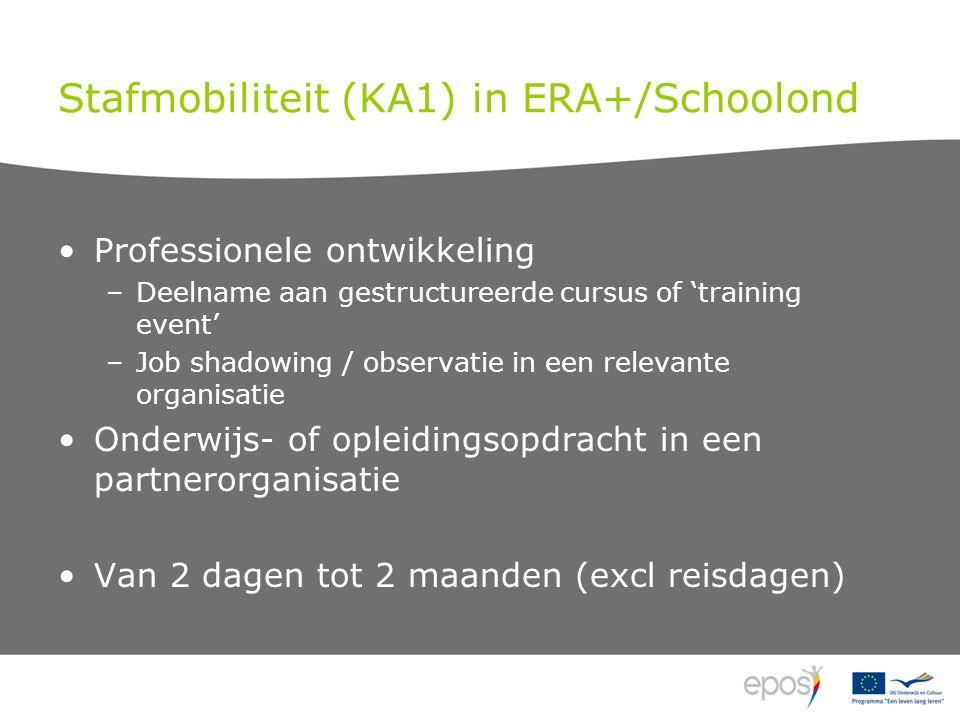 Stafmobiliteit (KA1) in ERA+/Schoolond Professionele ontwikkeling –Deelname aan gestructureerde cursus of 'training event' –Job shadowing / observatie in een relevante organisatie Onderwijs- of opleidingsopdracht in een partnerorganisatie Van 2 dagen tot 2 maanden (excl reisdagen)