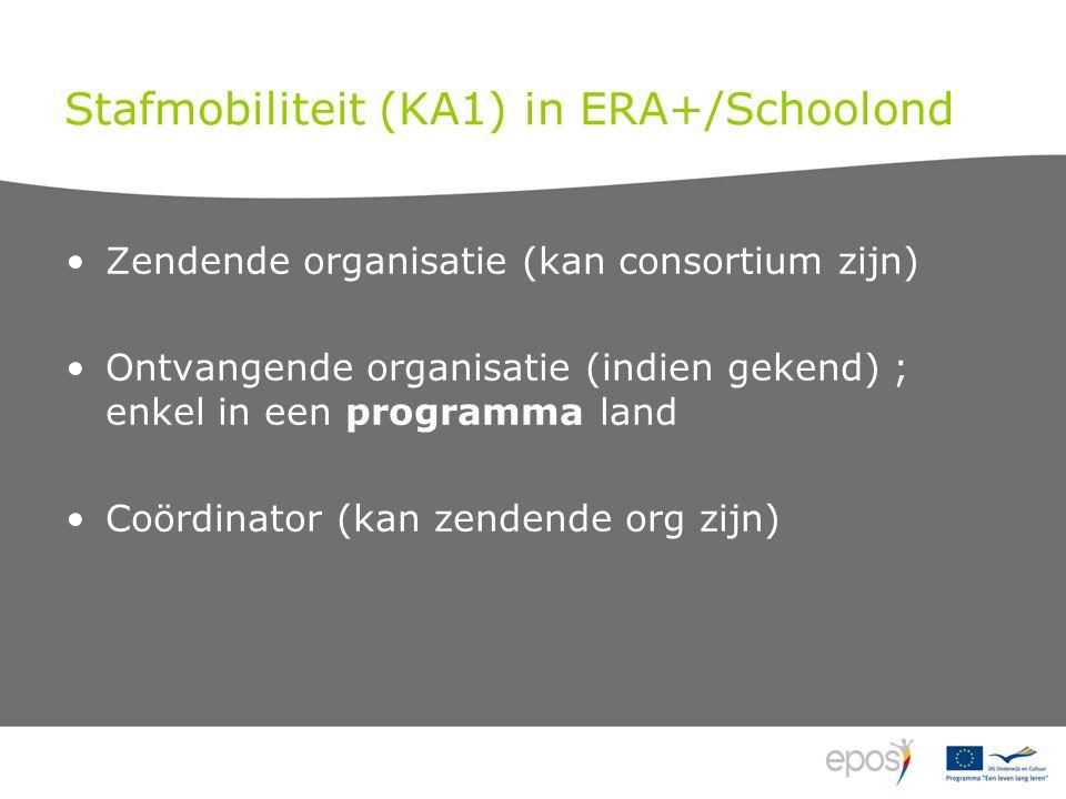 Stafmobiliteit (KA1) in ERA+/Schoolond Zendende organisatie (kan consortium zijn) Ontvangende organisatie (indien gekend) ; enkel in een programma land Coördinator (kan zendende org zijn)
