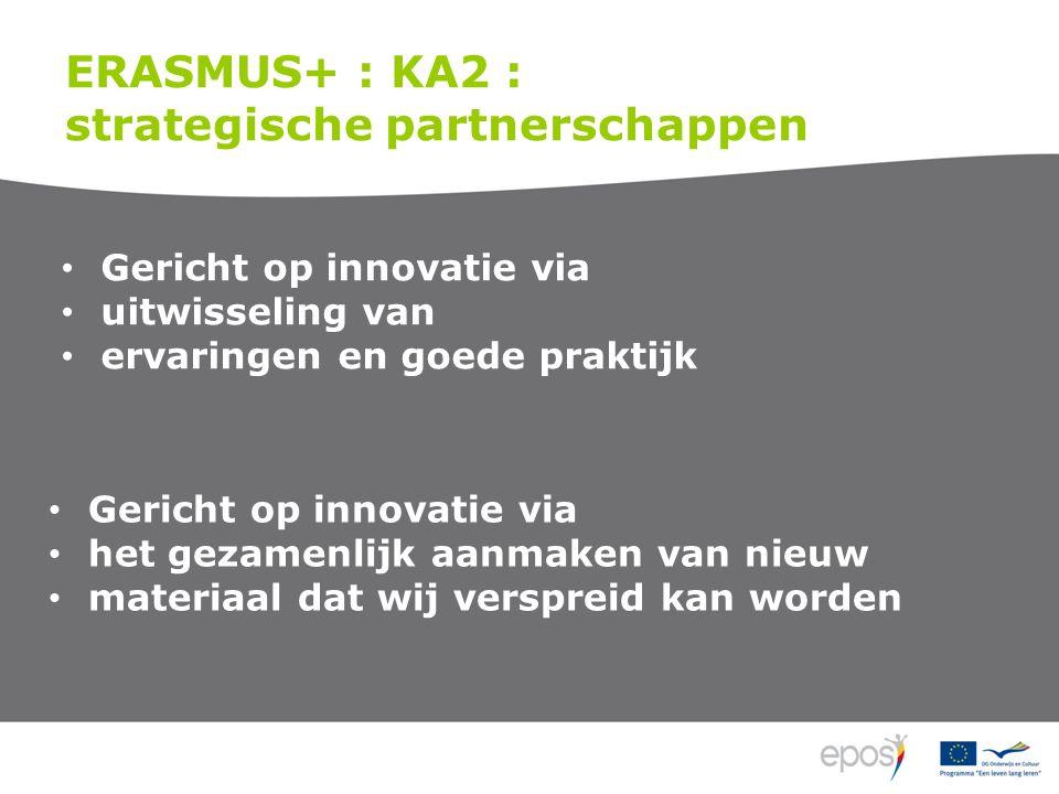 ERASMUS+ : KA2 : strategische partnerschappen Gericht op innovatie via uitwisseling van ervaringen en goede praktijk Gericht op innovatie via het gezamenlijk aanmaken van nieuw materiaal dat wij verspreid kan worden