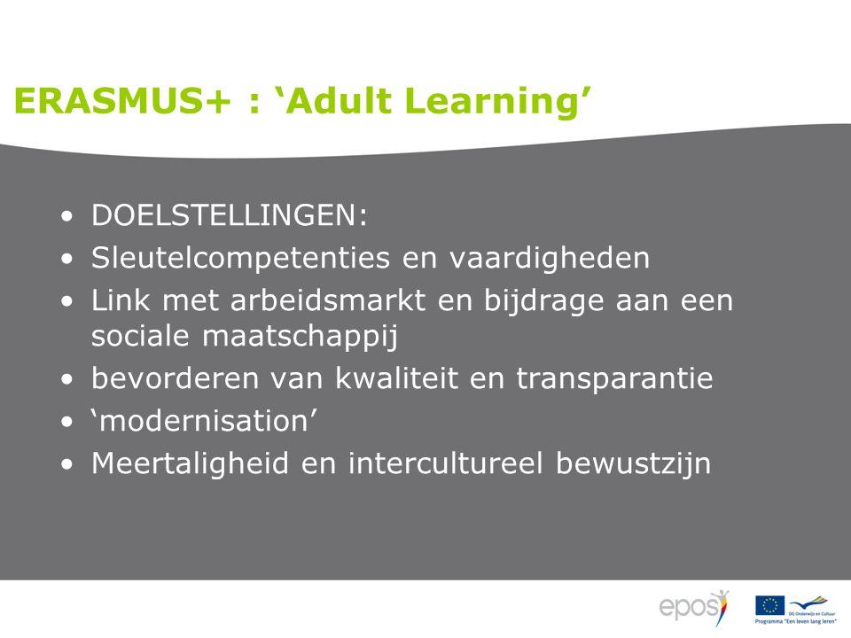 DOELSTELLINGEN: Sleutelcompetenties en vaardigheden Link met arbeidsmarkt en bijdrage aan een sociale maatschappij bevorderen van kwaliteit en transparantie 'modernisation' Meertaligheid en intercultureel bewustzijn ERASMUS+ : 'Adult Learning'