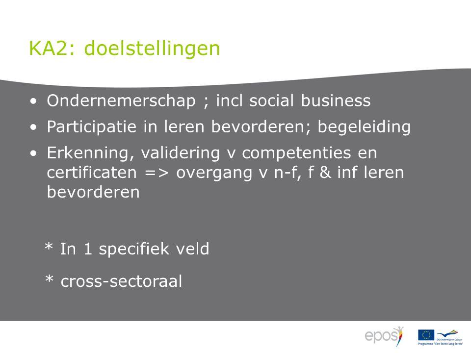 KA2: doelstellingen Ondernemerschap ; incl social business Participatie in leren bevorderen; begeleiding Erkenning, validering v competenties en certificaten => overgang v n-f, f & inf leren bevorderen * In 1 specifiek veld * cross-sectoraal