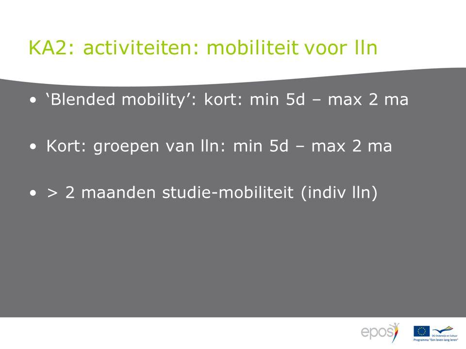KA2: activiteiten: mobiliteit voor lln 'Blended mobility': kort: min 5d – max 2 ma Kort: groepen van lln: min 5d – max 2 ma > 2 maanden studie-mobiliteit (indiv lln)