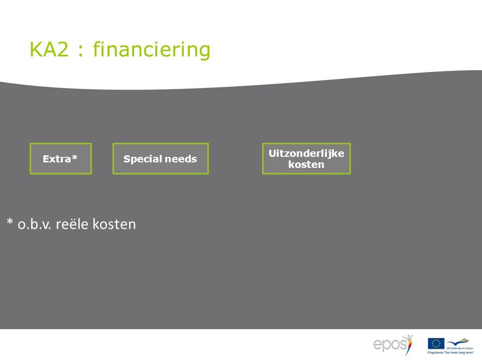 KA2 : financiering Uitzonderlijke kosten Special needs Extra* * o.b.v. reële kosten