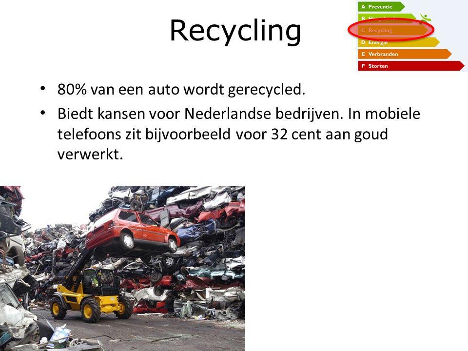 80% van een auto wordt gerecycled. Biedt kansen voor Nederlandse bedrijven. In mobiele telefoons zit bijvoorbeeld voor 32 cent aan goud verwerkt. Recy