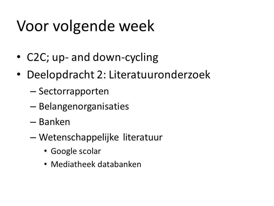 Voor volgende week C2C; up- and down-cycling Deelopdracht 2: Literatuuronderzoek – Sectorrapporten – Belangenorganisaties – Banken – Wetenschappelijke