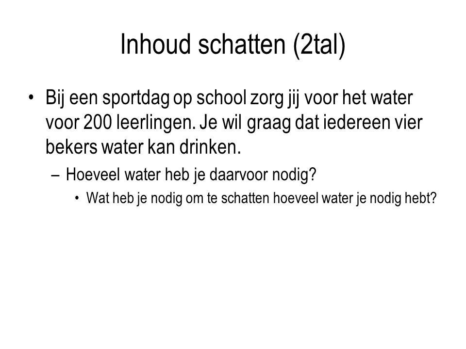 Inhoud schatten (2tal) Bij een sportdag op school zorg jij voor het water voor 200 leerlingen.