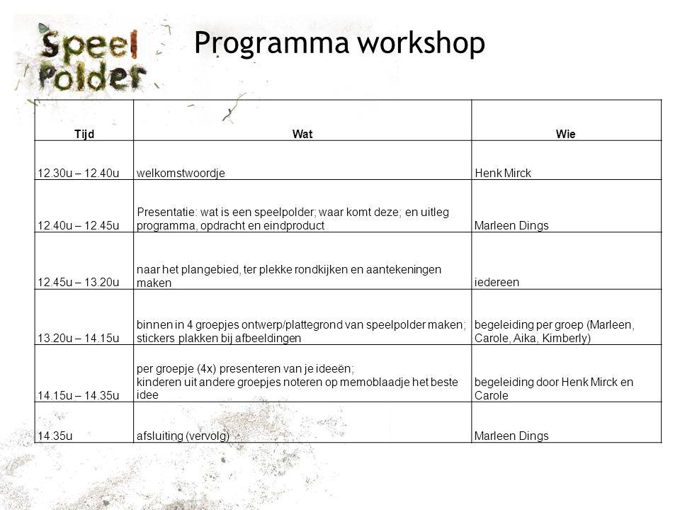 Programma workshop TijdWatWie 12.30u – 12.40uwelkomstwoordjeHenk Mirck 12.40u – 12.45u Presentatie: wat is een speelpolder; waar komt deze; en uitleg