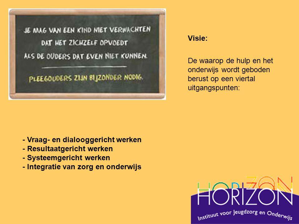 Visie: De waarop de hulp en het onderwijs wordt geboden berust op een viertal uitgangspunten: - Vraag- en dialooggericht werken - Resultaatgericht wer
