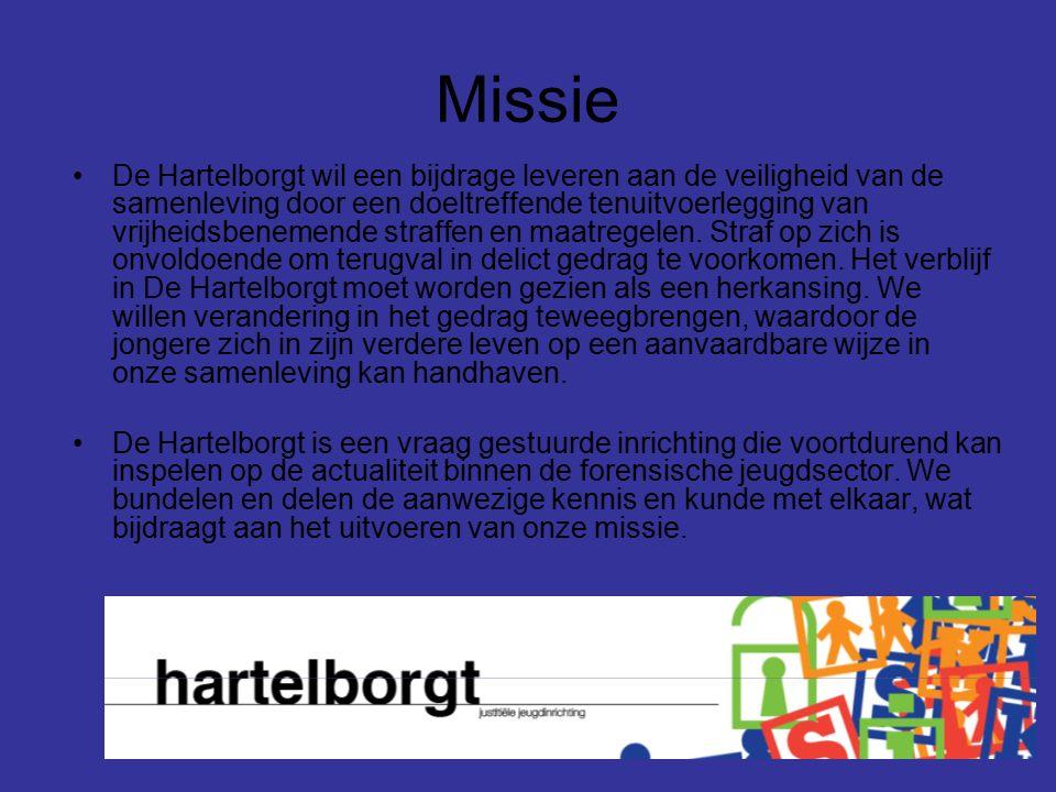 Missie De Hartelborgt wil een bijdrage leveren aan de veiligheid van de samenleving door een doeltreffende tenuitvoerlegging van vrijheidsbenemende st