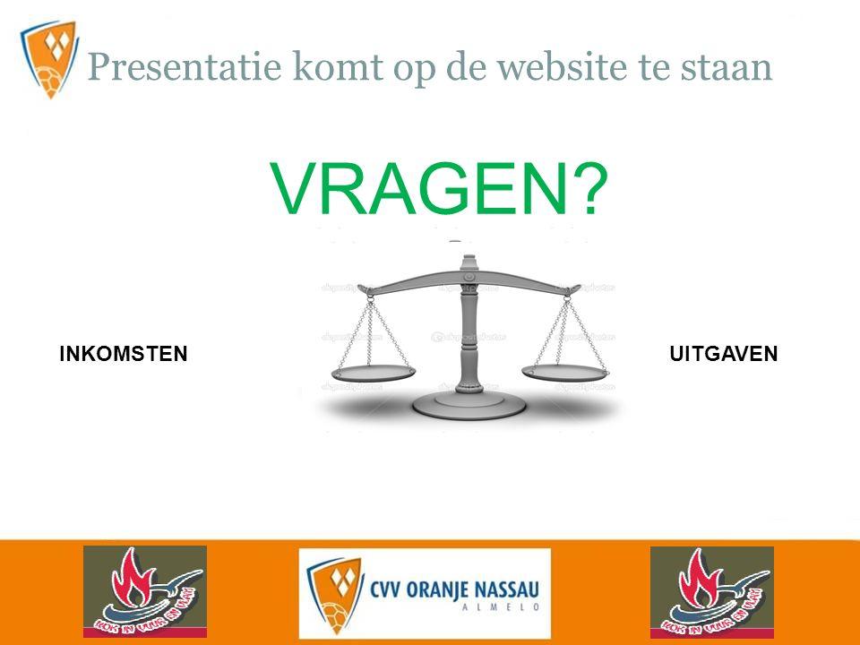Presentatie komt op de website te staan INKOMSTENUITGAVEN VRAGEN