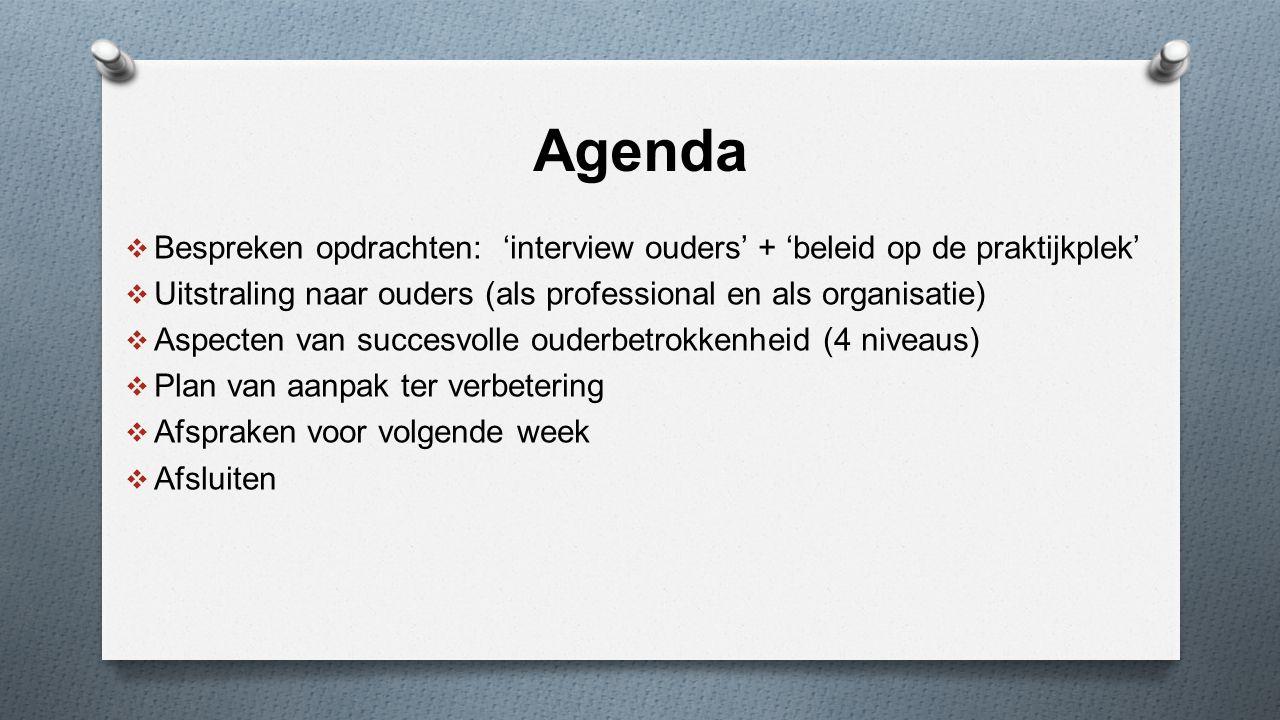 Agenda  Bespreken opdrachten: 'interview ouders' + 'beleid op de praktijkplek'  Uitstraling naar ouders (als professional en als organisatie)  Aspecten van succesvolle ouderbetrokkenheid (4 niveaus)  Plan van aanpak ter verbetering  Afspraken voor volgende week  Afsluiten