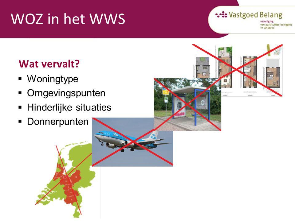 WOZ in het WWS Wat vervalt?  Woningtype  Omgevingspunten  Hinderlijke situaties  Donnerpunten