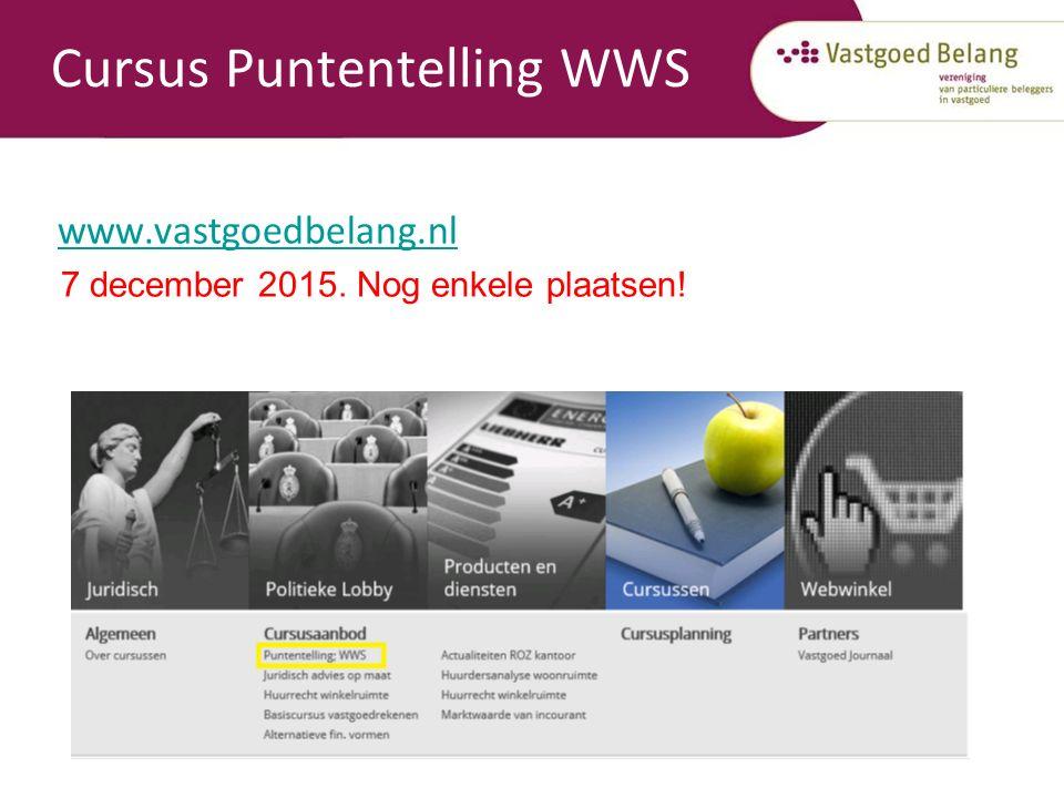 Cursus Puntentelling WWS www.vastgoedbelang.nl 7 december 2015. Nog enkele plaatsen!