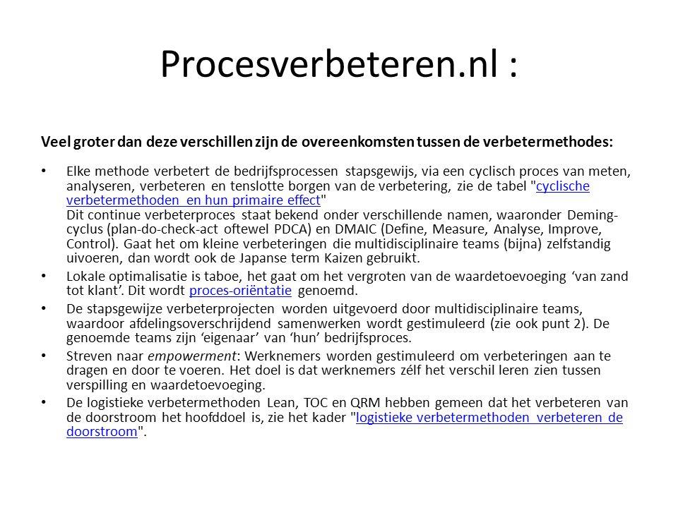 Procesverbeteren.nl : Veel groter dan deze verschillen zijn de overeenkomsten tussen de verbetermethodes: Elke methode verbetert de bedrijfsprocessen stapsgewijs, via een cyclisch proces van meten, analyseren, verbeteren en tenslotte borgen van de verbetering, zie de tabel cyclische verbetermethoden en hun primaire effect Dit continue verbeterproces staat bekend onder verschillende namen, waaronder Deming- cyclus (plan-do-check-act oftewel PDCA) en DMAIC (Define, Measure, Analyse, Improve, Control).