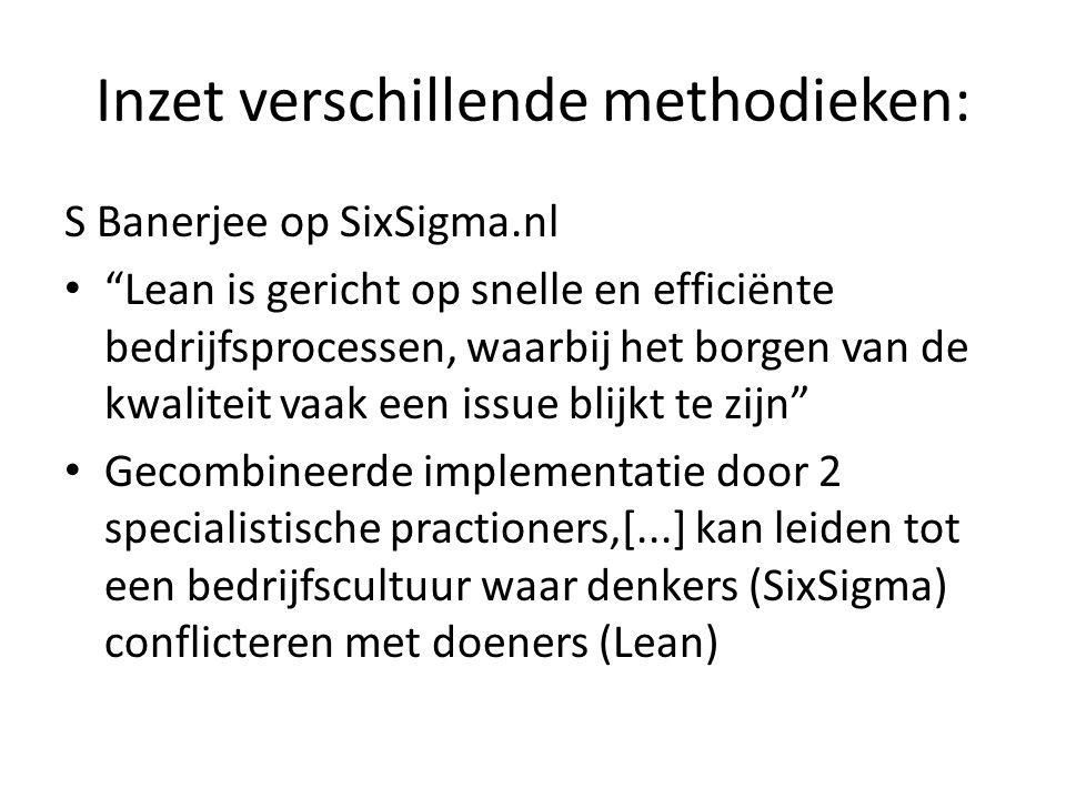 Inzet verschillende methodieken: S Banerjee op SixSigma.nl Lean is gericht op snelle en efficiënte bedrijfsprocessen, waarbij het borgen van de kwaliteit vaak een issue blijkt te zijn Gecombineerde implementatie door 2 specialistische practioners,[...] kan leiden tot een bedrijfscultuur waar denkers (SixSigma) conflicteren met doeners (Lean)