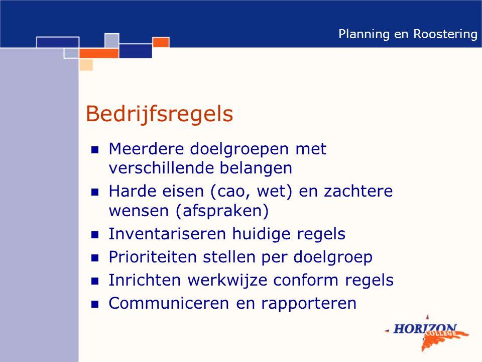 Planning en Roostering Bedrijfsregels Meerdere doelgroepen met verschillende belangen Harde eisen (cao, wet) en zachtere wensen (afspraken) Inventariseren huidige regels Prioriteiten stellen per doelgroep Inrichten werkwijze conform regels Communiceren en rapporteren