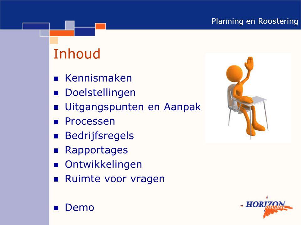 Planning en Roostering Inhoud Kennismaken Doelstellingen Uitgangspunten en Aanpak Processen Bedrijfsregels Rapportages Ontwikkelingen Ruimte voor vragen Demo