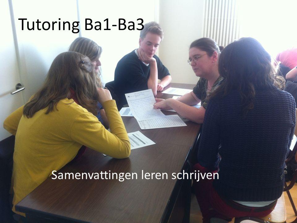 Tutoring Ba1-Ba3 Samenvattingen leren schrijven