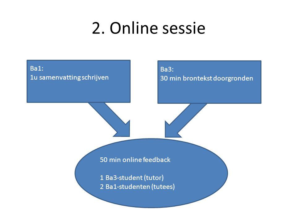 2. Online sessie Ba1: 1u samenvatting schrijven Ba3: 30 min brontekst doorgronden 50 min online feedback 1 Ba3-student (tutor) 2 Ba1-studenten (tutees