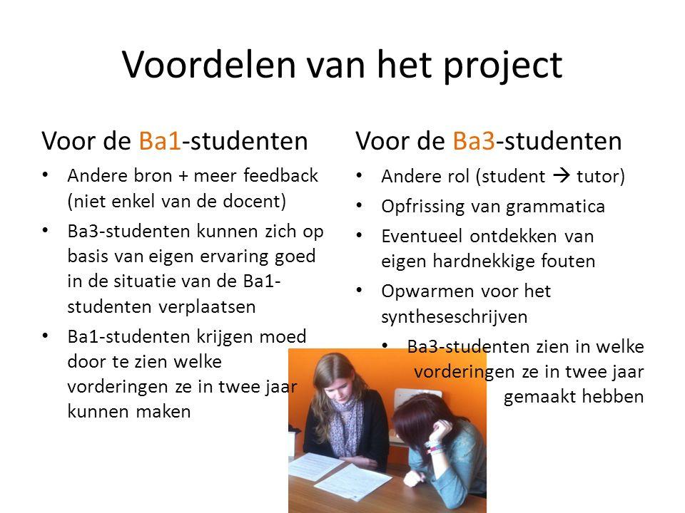 Voordelen van het project Voor de Ba1-studenten Andere bron + meer feedback (niet enkel van de docent) Ba3-studenten kunnen zich op basis van eigen ervaring goed in de situatie van de Ba1- studenten verplaatsen Ba1-studenten krijgen moed door te zien welke vorderingen ze in twee jaar kunnen maken Voor de Ba3-studenten Andere rol (student  tutor) Opfrissing van grammatica Eventueel ontdekken van eigen hardnekkige fouten Opwarmen voor het syntheseschrijven Ba3-studenten zien in welke vorderingen ze in twee jaar gemaakt hebben