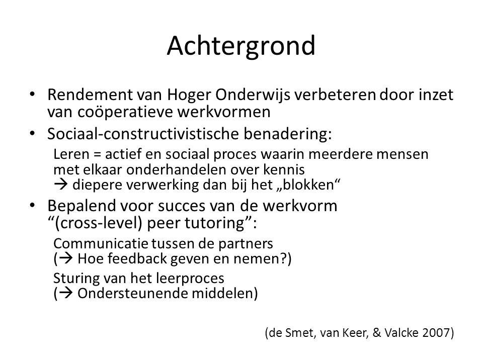 """Leertheoretische aspecten Zone of proximal development (ZPD)(Vygotsky): Verschil tussen hetgeen een student op basis van zijn huidige kennis + vaardigheden alleen kan uitvoeren met hetgeen hij/zij met hulp door een ander kan uitvoeren Activering van de ZPD door aangepast feedback (aan het verwerkings- en kennisniveau van de tutee) Stappenplan (""""dynamic assessment ; Lantolf & Thorne 2006): (fout) aanduiden -> annoteren -> corrigeren – Is het een verstrooidheidsfoutje."""