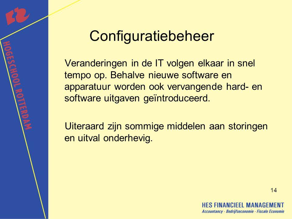 14 Configuratiebeheer Veranderingen in de IT volgen elkaar in snel tempo op.