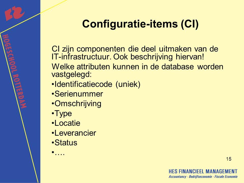 15 Configuratie-items (CI) CI zijn componenten die deel uitmaken van de IT-infrastructuur.