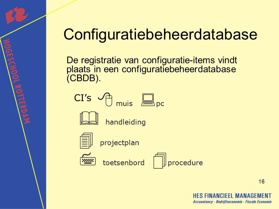 16 Configuratiebeheerdatabase De registratie van configuratie-items vindt plaats in een configuratiebeheerdatabase (CBDB).