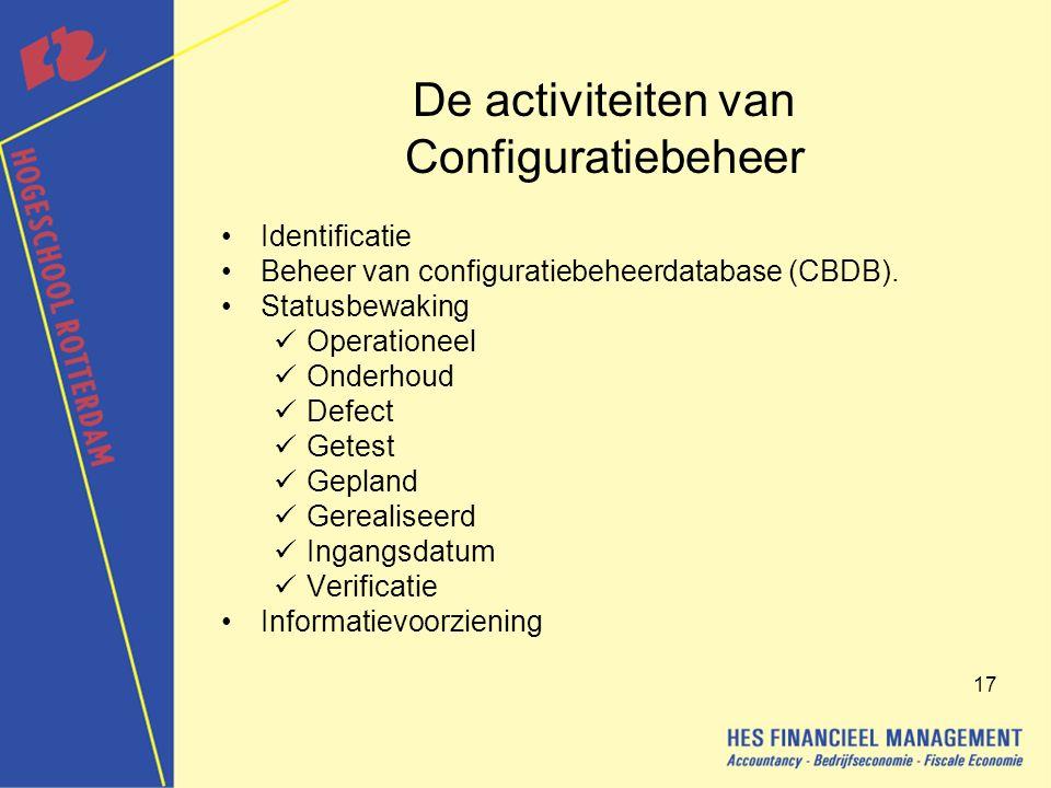 17 De activiteiten van Configuratiebeheer Identificatie Beheer van configuratiebeheerdatabase (CBDB).