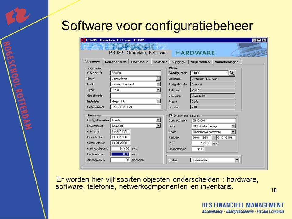 18 Software voor configuratiebeheer Er worden hier vijf soorten objecten onderscheiden : hardware, software, telefonie, netwerkcomponenten en inventaris.