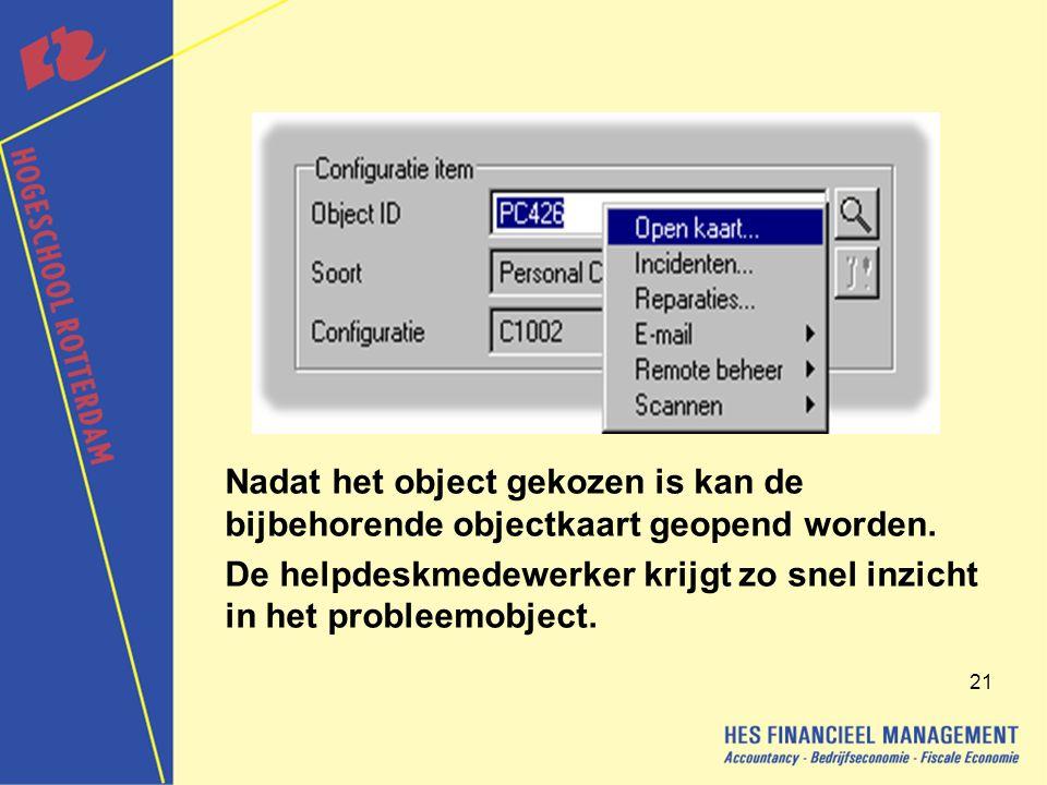 21 Nadat het object gekozen is kan de bijbehorende objectkaart geopend worden.