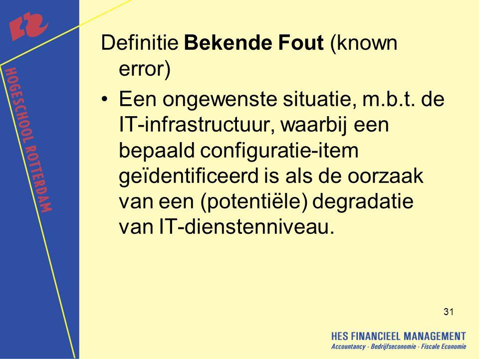 31 Definitie Bekende Fout (known error) Een ongewenste situatie, m.b.t.