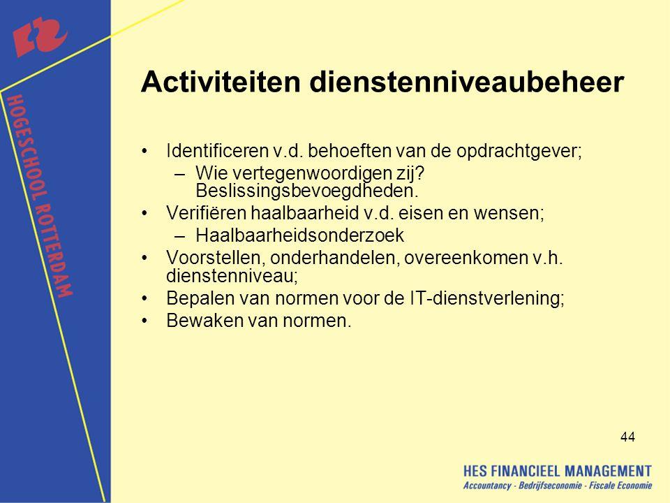 44 Activiteiten dienstenniveaubeheer Identificeren v.d.