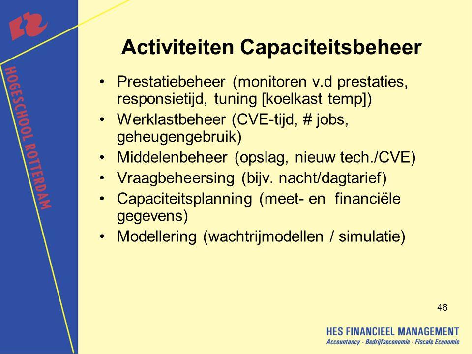 46 Activiteiten Capaciteitsbeheer Prestatiebeheer (monitoren v.d prestaties, responsietijd, tuning [koelkast temp]) Werklastbeheer (CVE-tijd, # jobs, geheugengebruik) Middelenbeheer (opslag, nieuw tech./CVE) Vraagbeheersing (bijv.