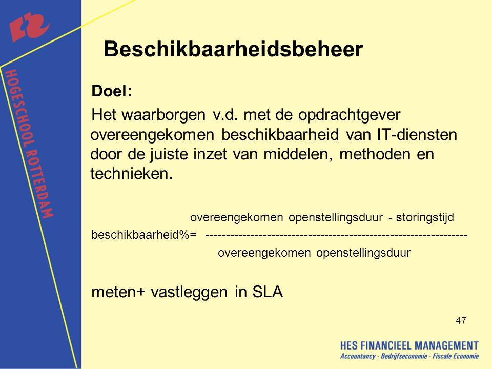 47 Beschikbaarheidsbeheer Doel: Het waarborgen v.d.