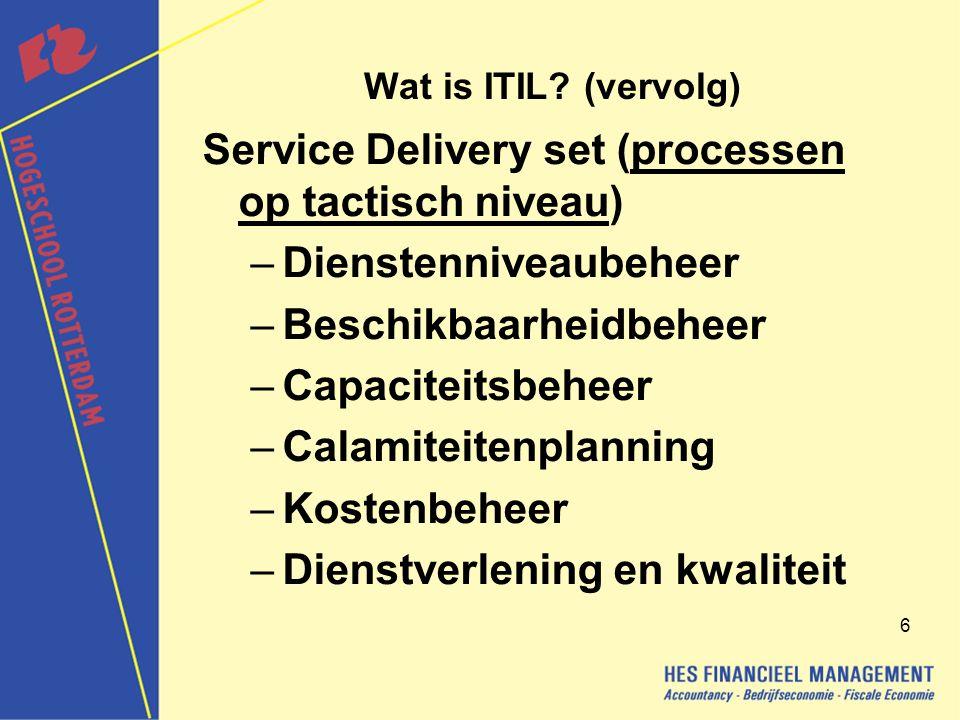 7 De voordelen van ITIL De voordelen zijn: grotere tevredenheid bij klanten over de op maat geleverde IT-diensten; beperking van het risico dat niet voldaan kan worden aan eisen die aan IT-diensten worden gesteld; het ontwikkelen van procedures binnen een organisatie kost minder; de communicatie tussen IT-medewerkers en klanten verbetert; het management heeft de garantie dat het personeel geschikte standaards en materiaal gebruikt; grotere productiviteit en een optimaal gebruik van vakkennis en ervaring; een kwalitatieve aanpak van IT-dienstverlening.