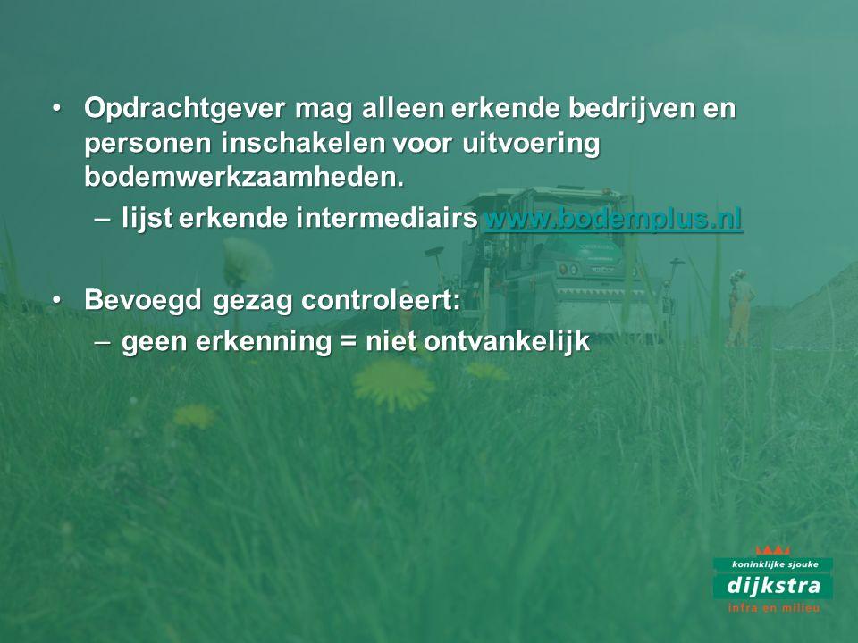 Opdrachtgever mag alleen erkende bedrijven en personen inschakelen voor uitvoering bodemwerkzaamheden.Opdrachtgever mag alleen erkende bedrijven en pe