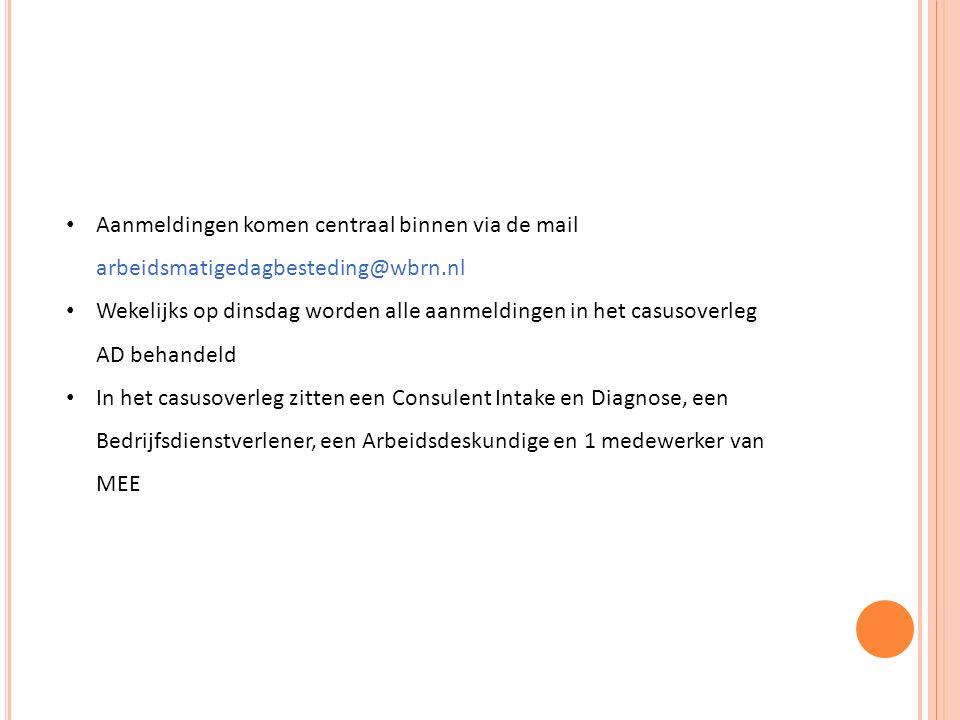 Aanmeldingen komen centraal binnen via de mail arbeidsmatigedagbesteding@wbrn.nl Wekelijks op dinsdag worden alle aanmeldingen in het casusoverleg AD behandeld In het casusoverleg zitten een Consulent Intake en Diagnose, een Bedrijfsdienstverlener, een Arbeidsdeskundige en 1 medewerker van MEE