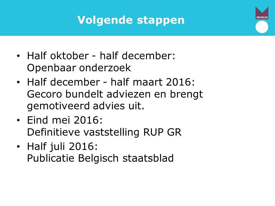 Volgende stappen Half oktober - half december: Openbaar onderzoek Half december - half maart 2016: Gecoro bundelt adviezen en brengt gemotiveerd advies uit.