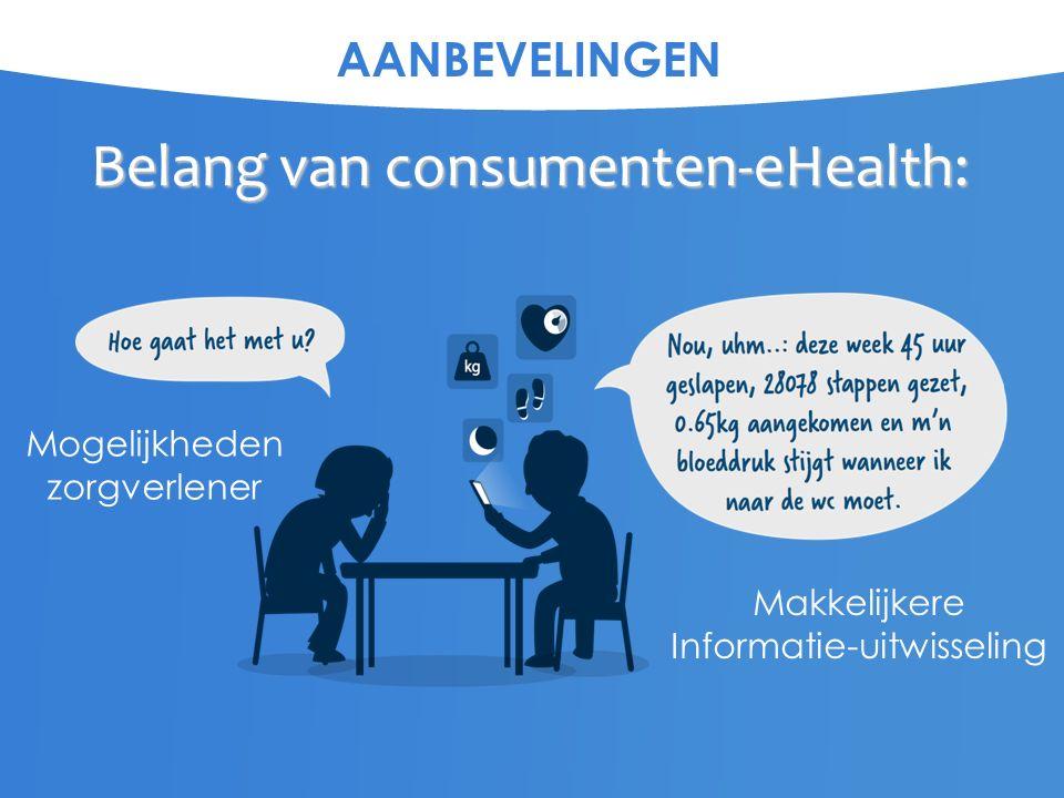 AANBEVELINGEN Belang van consumenten-eHealth: Makkelijkere Informatie-uitwisseling Mogelijkheden zorgverlener