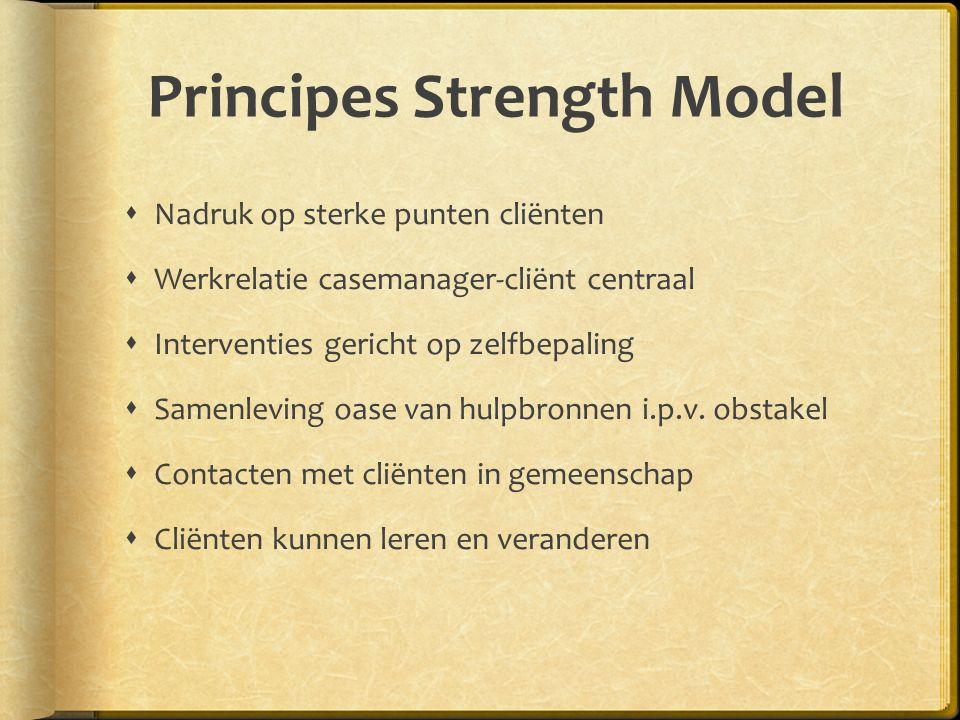 Principes Strength Model  Nadruk op sterke punten cliënten  Werkrelatie casemanager-cliënt centraal  Interventies gericht op zelfbepaling  Samenleving oase van hulpbronnen i.p.v.