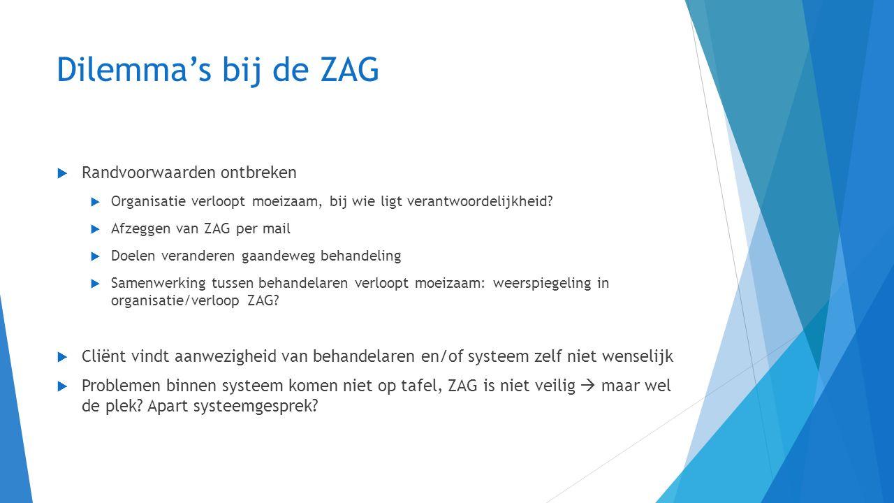 Dilemma's bij de ZAG  Randvoorwaarden ontbreken  Organisatie verloopt moeizaam, bij wie ligt verantwoordelijkheid?  Afzeggen van ZAG per mail  Doe