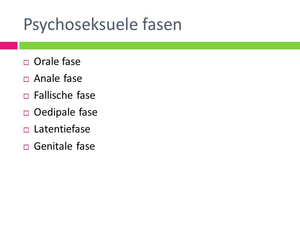  Orale fase  Anale fase  Fallische fase  Oedipale fase  Latentiefase  Genitale fase Psychoseksuele fasen