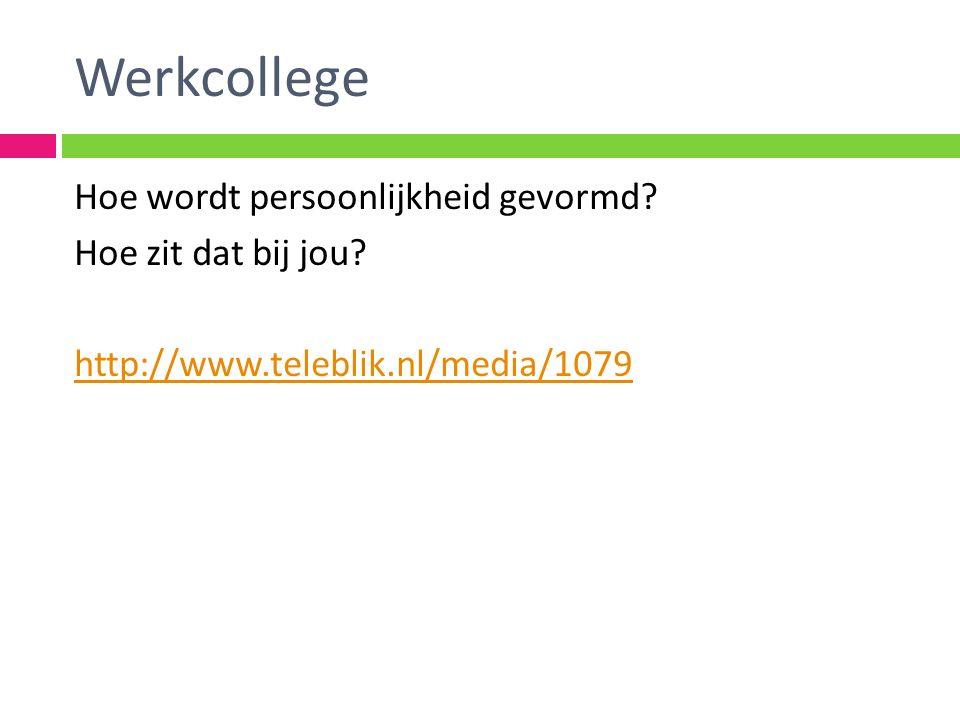 Werkcollege Hoe wordt persoonlijkheid gevormd? Hoe zit dat bij jou? http://www.teleblik.nl/media/1079