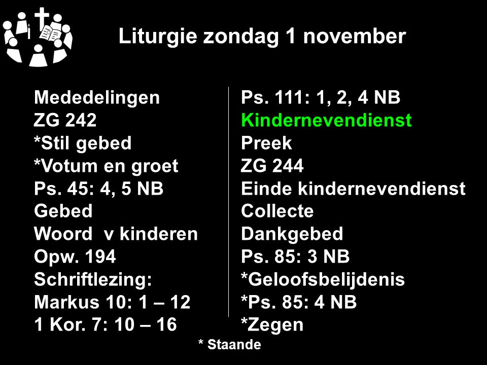 Liturgie zondag 1 november Ps.