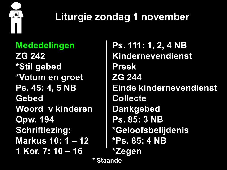 Liturgie zondag 1 november Ps.