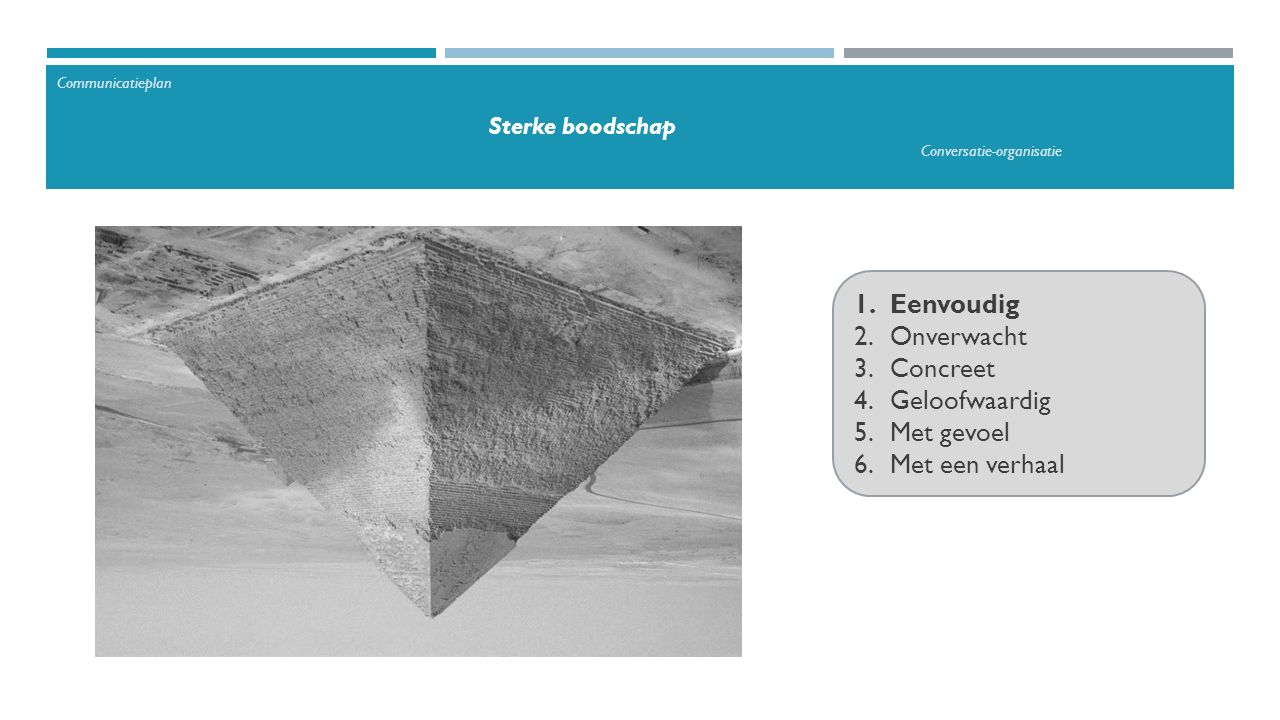 1.Eenvoudig 2.Onverwacht 3.Concreet 4.Geloofwaardig 5.Met gevoel 6.Met een verhaal Communicatieplan Sterke boodschap Conversatie-organisatie